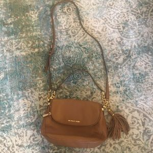Authentic Michael Kors brown leather crossbody bag